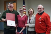 Emma Haber with parents Scott and Michelle Haber and Lions Club member Bill Decker