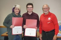 Joshua Parsons with mother, Kim Parsons and Leo Club member Bill Decker.